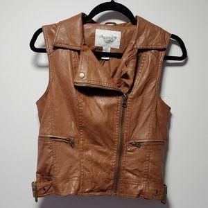 American Rag Faux Leather Zip Vest Size Medium